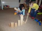 Pre school children building together