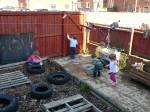 Pre school children involved in open ended play at Hugo and Holly Nursery
